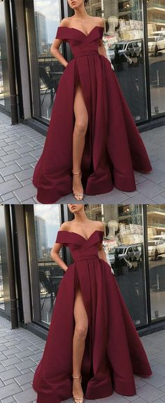 Elegant Sexy V-Neck Burgundy Satin Long Prom Dress With High Split , Fashion Women Prom Party Gowns - Prom Dresses Design Cute Prom Dresses, Prom Outfits, Grad Dresses, Ball Dresses, Homecoming Dresses, Evening Dresses, Bridesmaid Dresses, Formal Dresses Long Elegant, Split Prom Dresses