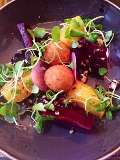 Heritage beetroot, fried goats cheese and candied walnuts - perfect light lunch