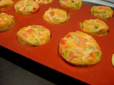 Little vegetable omelettes    As an appetiser or starter, little thick soft omelettes, with diced tomato, courgette and smoked ham.