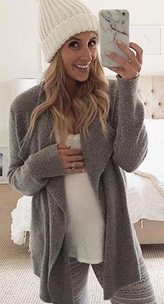 #winter #fashion /  White Beanie / Grey Cardigan / White Top / Striped Leggings