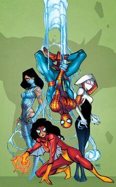#Spiderman #Fan #Art. (Spideys by Pasquale Ferry. Colored) By: Robtlsnyder. (THE * 5 * STÅR * ÅWARD * OF: * AW YEAH, IT'S MAJOR ÅWESOMENESS!!!™)[THANK Ü 4 PINNING<·><]<©>ÅÅÅ+(OB4E)