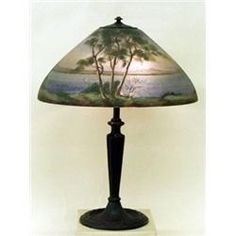 Thomas kinkade a light in the storm reverse painted lamp ...