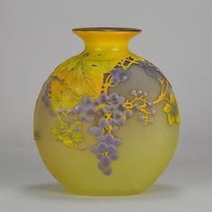 Art Nouveau Emile Gallé Cameo Raisins Soufflé Vase