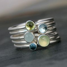 Earth Sky Stacking Rings, Blue & Green, Sterling Silver Stacking Rings, Five Rings, Stackable, Prehnite, Blue Topaz, Aquamarine, Peridot