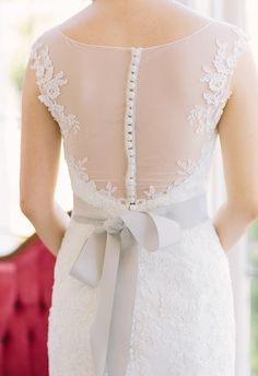 Sheer back, grey ribbon, lace // Retrospect Images