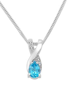 Miore MT066N 9 ct White Gold Blue Topaz and Diamond Set Crossover Pendant on 45 cm Curb Chain