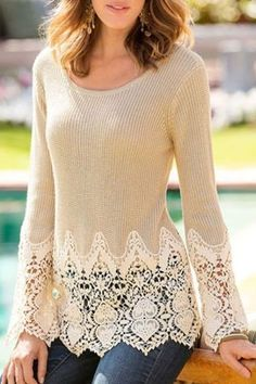 So Pretty! Love the Lace Details! Chic Solid Color Lace Splicing Long Sleeve Scoop Neck Pullover Sweater For Women So Pretty! Love the Lace Details! Chic Solid Color Lace Splicing Long Sleeve Scoop Neck Pullover Sweater For Women Diy Clothing, Sewing Clothes, Dress Sewing, Pull Crochet, Chunky Crochet, Crochet Trim, Diy Kleidung, Refashioning, Cardigans For Women