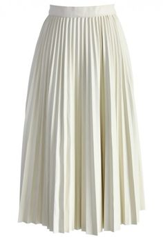 Leather Midi Skirt in Off-white