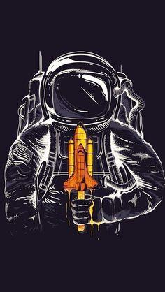 Astronaut Space Art Moon Dark iPhone 5s wallpaper
