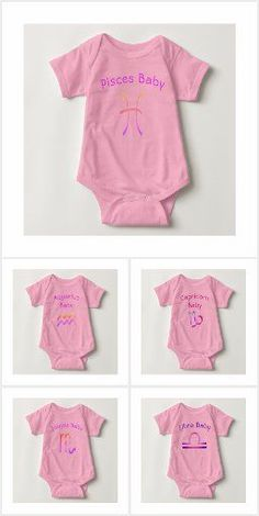 These cute baby clothes decorated with all different astrological signs. Designed for baby girls! #cutebabyclothing #auntiebabyclothes #babygirlonesies #onesiesforgirls #zodiacsigns