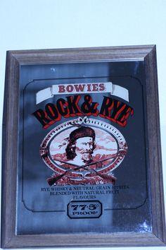 Pub Bar Tavern Mirror Bowies Rock Rye Framed Alcohol Spirits Vintage Man Cave Wall Decor 13 x 10 Advertising by TresorsEnchantes on Etsy