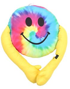 Camping Gifts, Decorative Pillow Covers, Smiley, Tie Dye, Marker, Kids, Black, Young Children, Emoticon