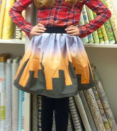 Student's DIY fabric of the NY skyline she made into a skirt