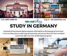 """""""The educational system in Germany is quite diverse with great focus on practical learning i.e. learning by doing for which the state funds the research projects in the Universities. A degree from here is highly respected all over the world. Do you want to study in Germany, get our expert guidance www.abroadshiksha.com"""" Research Projects, Study Abroad, All Over The World, University, Germany, Language, Student, Education, Learning"""