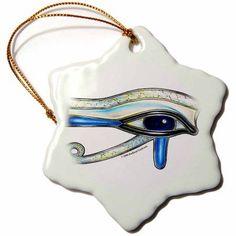 3dRose Opalite Eye of Ra Egyptian Pagan Art, Snowflake Ornament, Porcelain, 3-inch