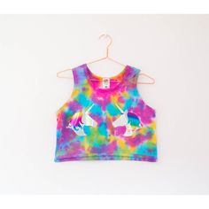 Tie Dye Unicorn Holographic Pastel Sleeveless Crop Top s/m/l/xl ($22) ❤ liked on Polyvore featuring tops, crop tops, silver, women's clothing, white sleeveless top, hologram top, tie dyed tops, pastel tops and sleeveless tops