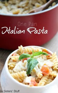 This dish takes 20 minutes from start to finish - and the clean-up is a breeze! One Pan Italian Pasta is a dinner your whole family will LOVE. Rigatoni Recipes, Italian Pasta Recipes, Pasta Salad Italian, Yummy Pasta Recipes, Beef Recipes, Chicken Recipes, Dinner Recipes, Healthy Recipes, Dinner Ideas