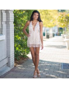 Dazzle Me Gold Sequin Romper - Cousin Couture Boutique Clothing, Homecoming, White Dress, Sequins, Prom Dresses, Rompers, Couture, Formal, Street Fashion