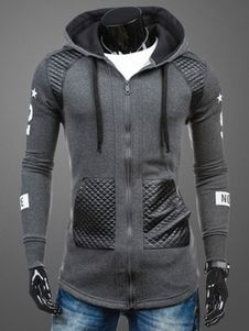 Gray Hoodie Lace Up Cotton Hoodie for Men