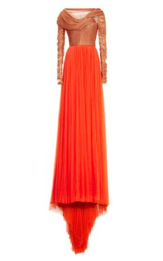 M'O Exclusive: Two-Tone Gown with Ruched Bodice and Open Back by DELPOZO - Moda Operandi