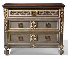 Villa Lorenzo Chest from Collection Ten by @ebanistacollect. Three drawer chest with intricate hand-carved detailing. Antiqued and polished grey finish with antiqued gold or silver detailing. Planked and banded French polished walnut top. Discover more at www.ebanista.com