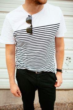 #mens #fashion #stripes #glasses #blackandwhite #ink #tattoo Kendi Everyday