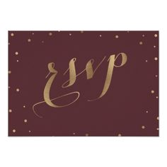 Gold Confetti Love Burgundy Wedding RSVP Card