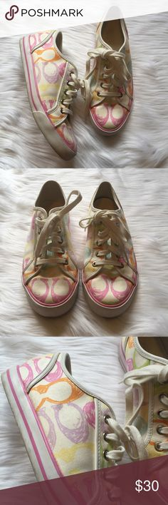 NWOT Multicolored Coach Sneakers Multicolored COACH sneakers NWOT. They have never been worn, just collecting dust so they deserve a good home. Size 8.5. Feel free to ask any additional questions.   💕 please make offers through offer button 💰 bundle for a 20% off discount  🚬🐶 smoke & pet free home  🚫 sorry no trades Coach Shoes Sneakers