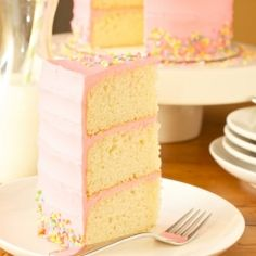 Three towering layers of vanilla bean cake with rich and creamy buttercream frosting. Perfect for any birthday.