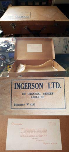 Ingerson Ltd. Tailors vintage cardboard suit case 1956-1961. 130 Grenfell St, Adelaide