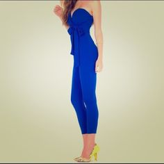 A'gaci Blue Jumpsuit Beautiful blue ankle length A'gaci jumpsuit in perfect condition. Worn for a few hours. Size Medium a'gaci Pants Jumpsuits & Rompers