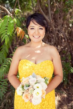 Beautiful yellow bridesmaid dress. Bridal hair and makeup by: www.danielarodrigueznyc.com