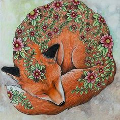 Raposa linda by  @zuzka.hanova   #dagdrömmar #hannakarlzon #coloring #coloringbook #adultcoloringbook #desenhoscolorir #adultcoloring #pencils #fabercastell #polychromos #fox
