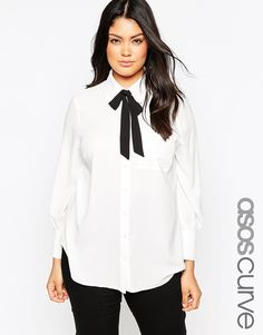 ASOS CURVE Blouse with 70's Contrast Bow