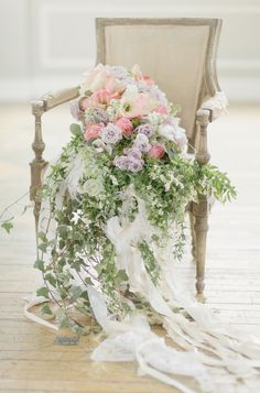 Cascading Bouquet in Vintage Chair | photography by http://www.elisabethmillay.com/