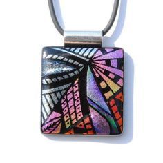 Hand Etched Dichroic Glass Pendant