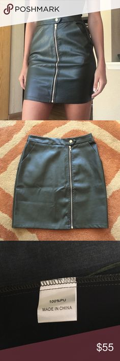 """LF Faux Leather Skirt Dark olive colored pencil skirt. Waist is 26 inches and hips are 34 inches. Length is 17 inches. I am 5'8"""" and a size 26 for reference! Never worn, brand new with tags. Originally $128, make me an offer! LF Skirts Mini"""