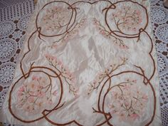 STUNNING HAND EMBROIDERY FLORAL ANTIQUE VINTAGE RIBBONWORK FLORAL CUSHION COVER?