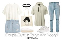 """Couple Outfit in Tokyo with Yoongi"" by btsoutfits ❤ liked on Polyvore featuring H&M, Yves Saint Laurent, LE3NO, Topman, Balenciaga and Miss Selfridge"