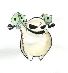 It's my favorite drawing Oogie Boogie belongs to Tim Burton Cute evil gambler Tim Burton Kunst, Tim Burton Art, Tim Burton Style, Chibi, Disney Drawings, Cute Drawings, Desenhos Halloween, Nightmare Before Christmas Tattoo, Drawing Tips