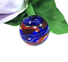 Blue Red Round 25 mm Handmade Lampwork Glass Bead From Murano Glass 1 Pcs #HandmadeLampworkBeads #Lampwork