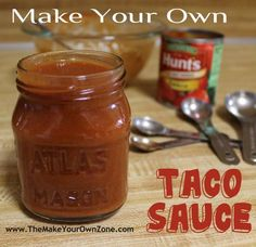 Easy recipe to make your own homemade taco sauce using a can of tomato sauce and your own spices