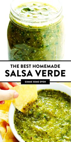 The BEST Salsa Verde recipe! It's easy to make with roasted tomatillo, cilantro, onion, garlic, Tomatillo Salsa Verde, Tomatillo Recipes, Roasted Tomatillo Salsa, Cilantro Recipes, Authentic Mexican Recipes, Mexican Salsa Recipes, Mexican Desserts, Authentic Mexican Salsa Verde Recipe, Homemade Salsa Recipes