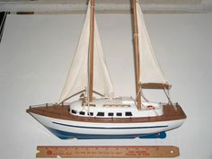 ~16 in. WOODEN TOY/DISPLAY SAILBOAT-YACHT(CLOTH SAILS(LOOKS SOLID WOOD?).NICE! | eBay