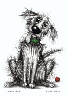 Fuzzy dog Fluffy pooch with ball waiting to play Original ink pen cartoon drawing on Etsy, $39.53