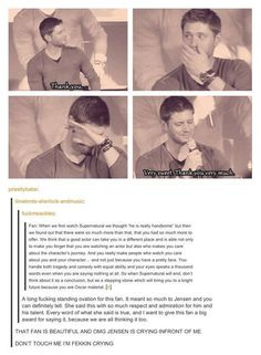 Fan moved Jensen to tears, telling him how talented he is