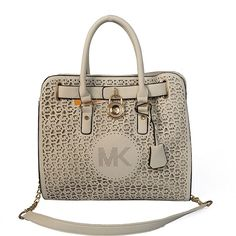 Michael Kors Hamilton Perforated Big Logo Large Ivory Totes only $71.99