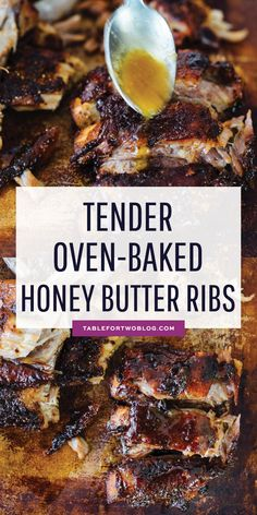 Tender Oven-Baked Honey Butter Ribs - Fall Off the Bone Rib Recipe , These tender honey butter ribs are oven baked to perfection and they fall off the bone! They are literally bathed in honey, butter, and brown sugar. Back Ribs In Oven, Oven Pork Ribs, Boneless Pork Ribs, Oven Baked Ribs, Pork Loin Back Ribs, Best Oven Ribs, Oven Roasted Ribs, Bone In Pork Loin, Braised Pork Ribs