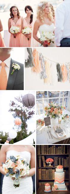 peach and grey weddings Coral and Grey Wedding Ideas