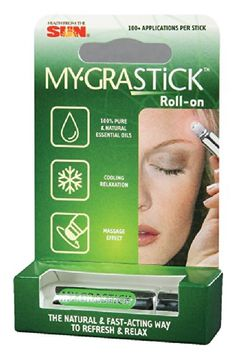 Mygra Stick - 0.1 oz - Stick (Found on AMAZON.COM) I suffer from chronic migraines and this little magic stick fits in my pocket! It is AMAZING!! If you feel a headache coming on, simply roll this around on your temples, back of your neck, and anywhere else that may be sensitive. It will definitely help stall the process so you can get to your meds! I find mine at my local Health Food Store. WONDERFUL PRODUCT!!